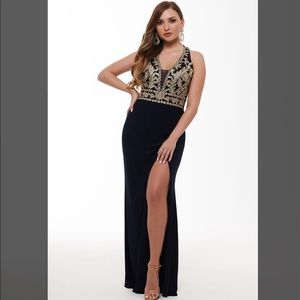 Halter Style Deep-V Embroidered Gown